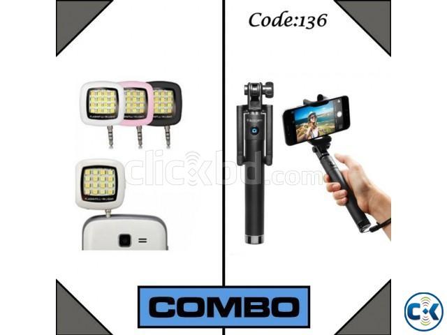 Combo Offer- Bluetooth Selfie Stick LED Flash Light | ClickBD large image 0