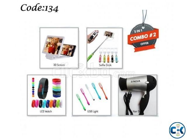 Combo Offer - Hair Dryer 3D Enlarged Screen Selfie stick LED | ClickBD large image 0