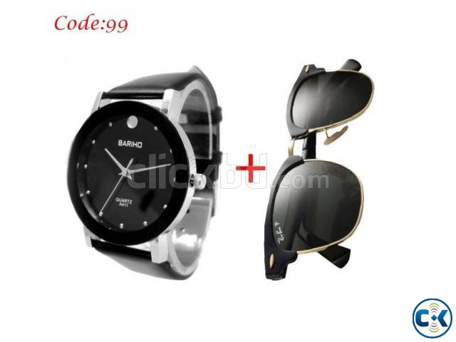 Combo Offer - Bariho Watch RayBan Men s Sunglasses Combo | ClickBD large image 0