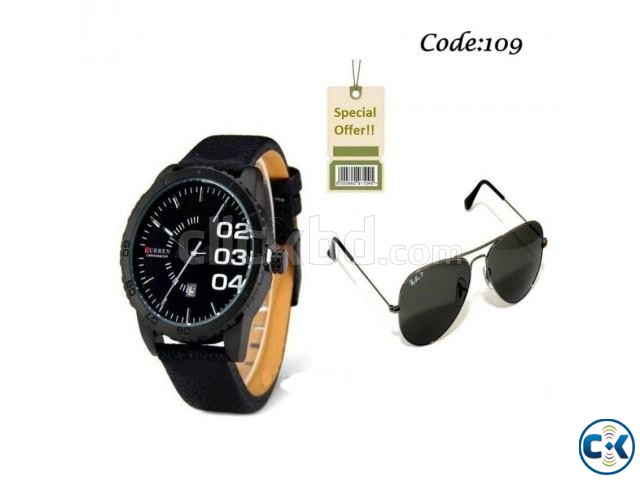Combo Offer- Curren Men s Wrist Watch Ray.Ban Sunglass Com | ClickBD large image 0