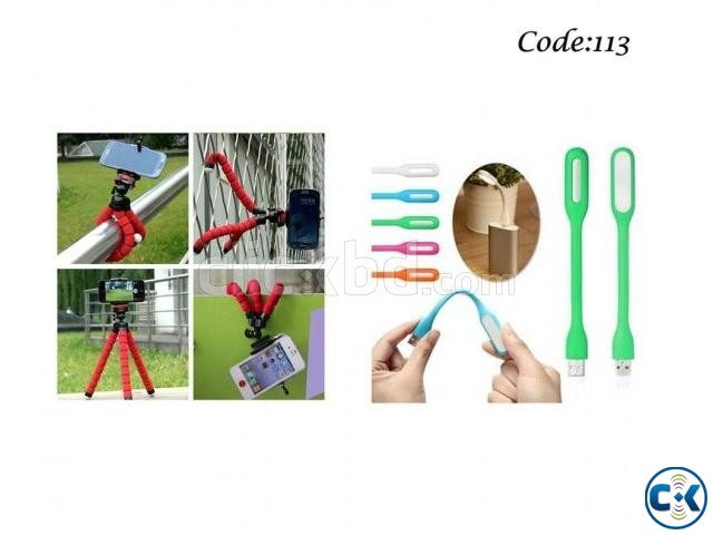 Combo Offer - Mini Flexible Octopus Tripod USB LED  | ClickBD large image 0