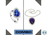 Combo of Blue Heart Shaped Ring Heart Shaped Necklace