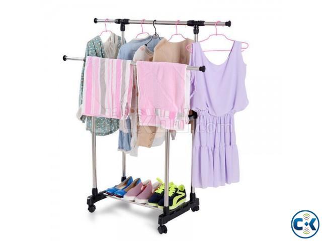 Folding Double Clothes Shoe Rack Code 030 | ClickBD large image 0