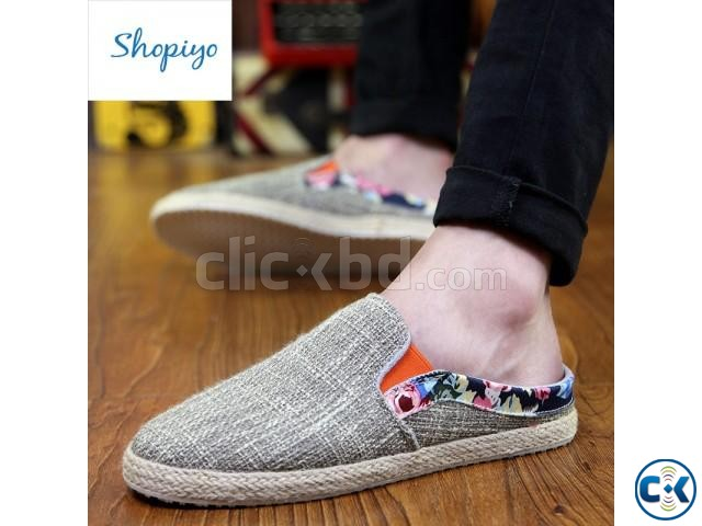 Men s linen shoes lazy pedal | ClickBD large image 0