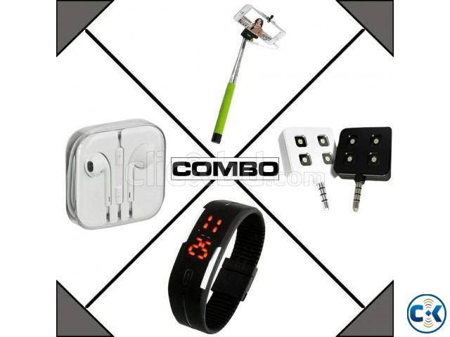 combo of selfie stick selfie light earphone led watch clickbd. Black Bedroom Furniture Sets. Home Design Ideas