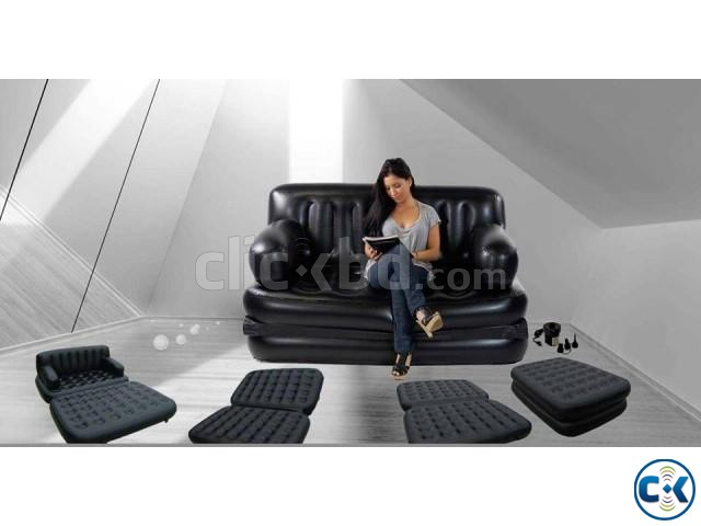 5 in 1 Inflatable Sofa Bed | ClickBD large image 1