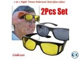 2 in 1 Night Vision Polarized Anti-Glare Glass Code 120