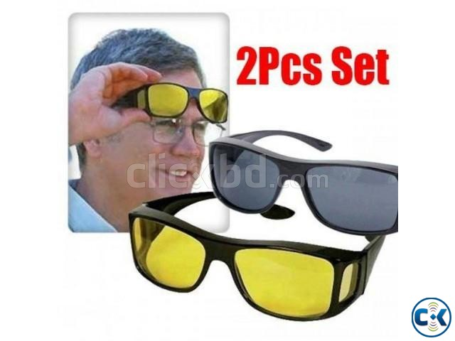 2 in 1 Night Vision Polarized Anti-Glare Glass | ClickBD large image 0