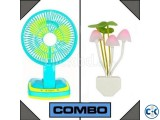 Combo of Rechargeable Fan with Light & Mushroom LED Light