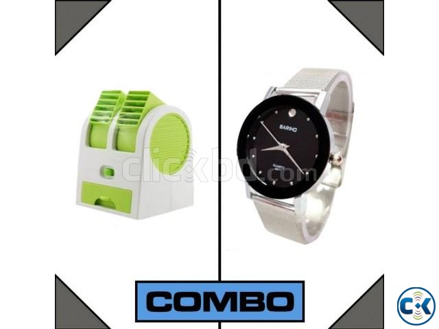 Combo of USB mini Air Cooler Bariho Wrist Watch | ClickBD large image 0