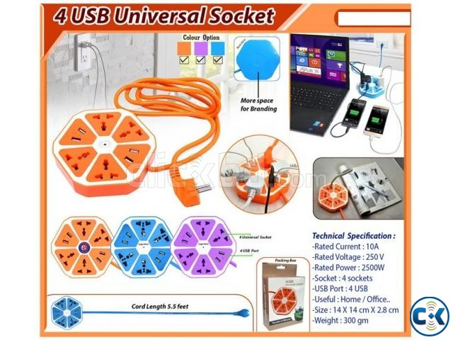 4 OUTLETS WITH 4 USB HEXAGON SOCKET | ClickBD large image 1