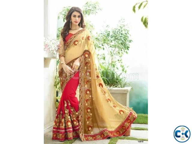 Indian Designer Georgette Embroidered Saree | ClickBD large image 0