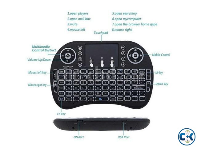 2.4G Mini Wireless Keyboard Mouse Rii Mini i8 Backlight Remo | ClickBD large image 2