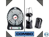 Mini Handheld Fan Rechargeable Lentern Combo
