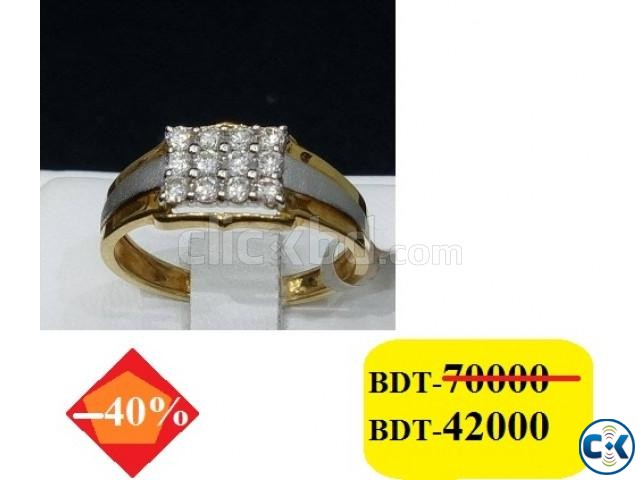 Diamond with Gold Gens Ring | ClickBD large image 0