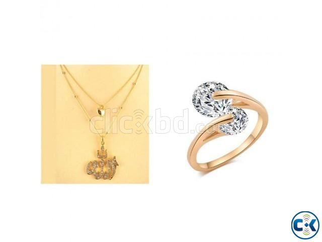 Combo Offer Women s Stone Necklace - Gold Rose Gold Plat Rin | ClickBD large image 0