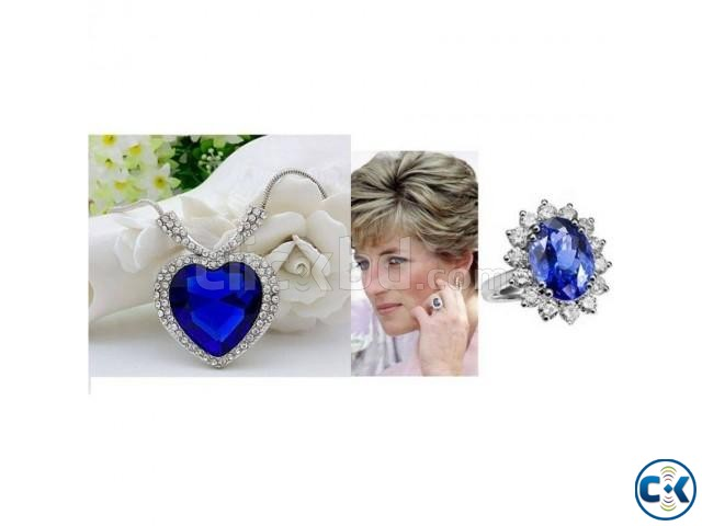 Combo Offer Titanic Heart Shaped Necklace Princess Dian Ring | ClickBD large image 0
