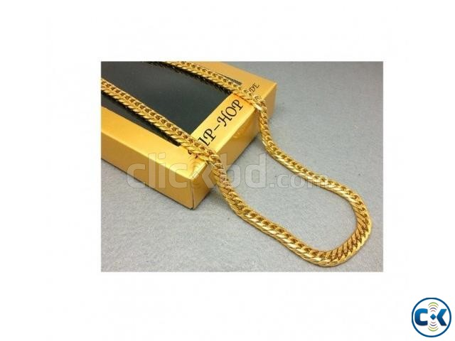 18k GOLD PLATED Men s Miami Cuban Link Curb Chain HIP HOP UN | ClickBD large image 0