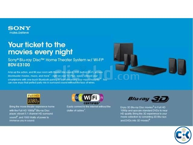 Sony BDV-E3100 Wi-Fi 3D Dolby Blu-Ray Home Theater   ClickBD large image 0
