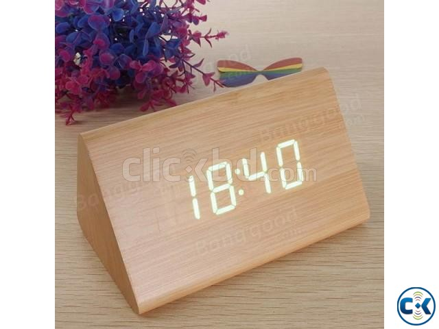 Triangular Green LED Wooden Desk Clock | ClickBD large image 1