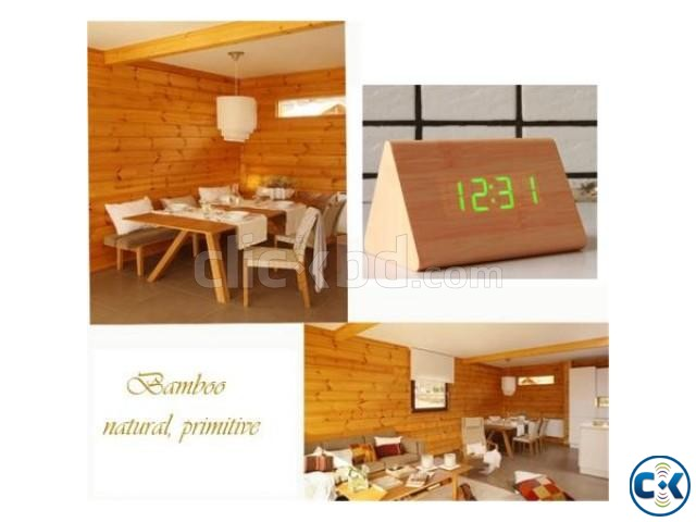 Triangular Green LED Wooden Desk Clock | ClickBD large image 2