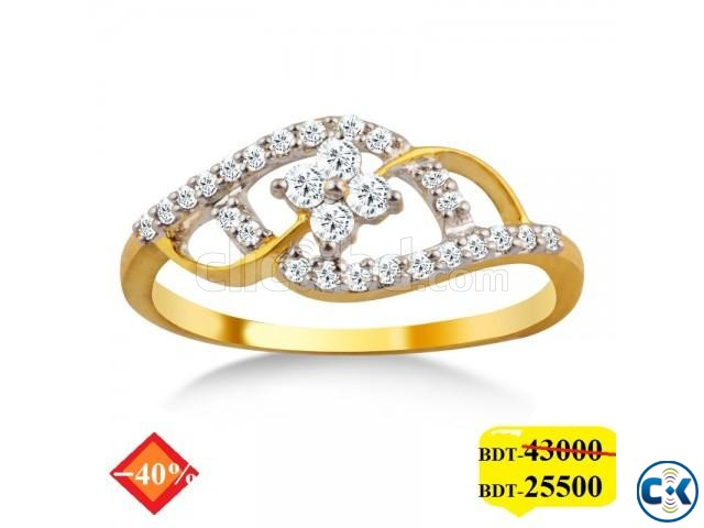 Diamond with Gold Ladies Ring   ClickBD large image 0