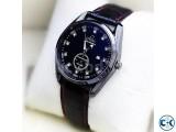 Omega Black Leather Strap With Black Dialer