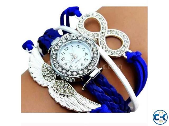Bird Shape Blue Leather Bracelet Watch | ClickBD large image 0