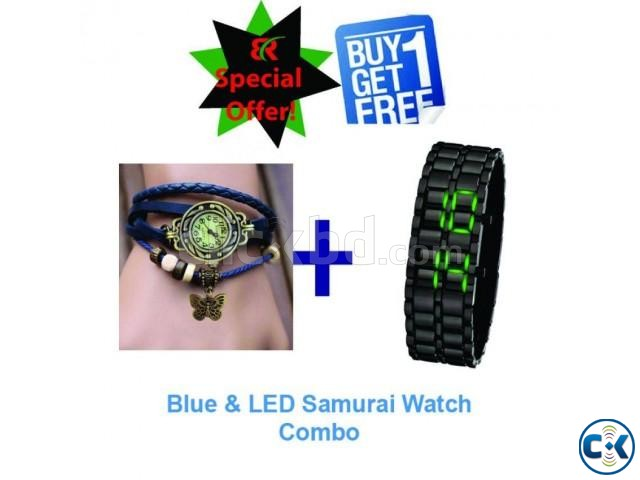 Blue ladies and LED Green Samurai watch | ClickBD large image 0
