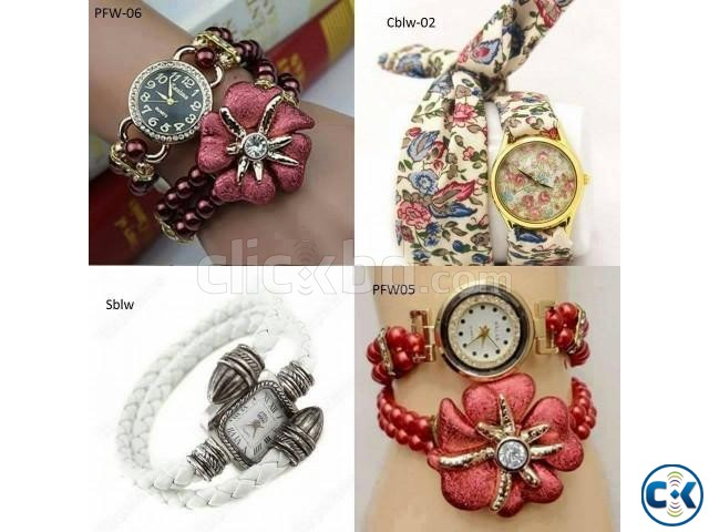 Awesome Red Color pearl Ladies Watch | ClickBD large image 0
