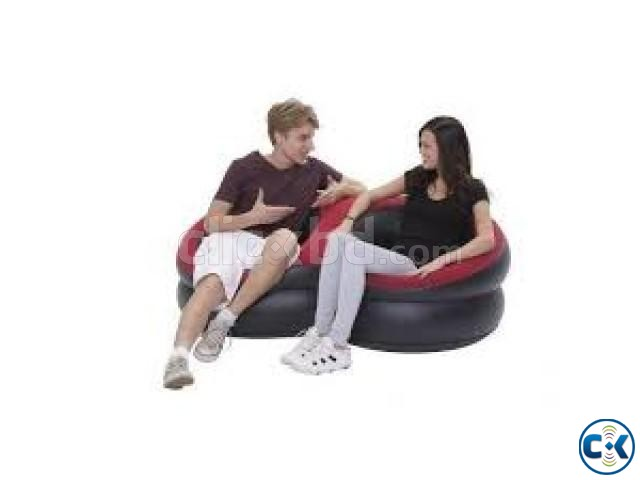 Inflatable Double Round Air Sofa free pumper | ClickBD large image 0