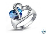 Blue Heart Shape Finger Ring