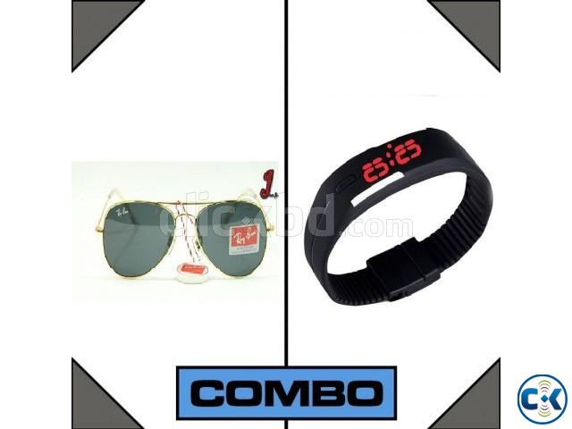 LED Watch and RayBan Sunglasses Combo | ClickBD large image 0