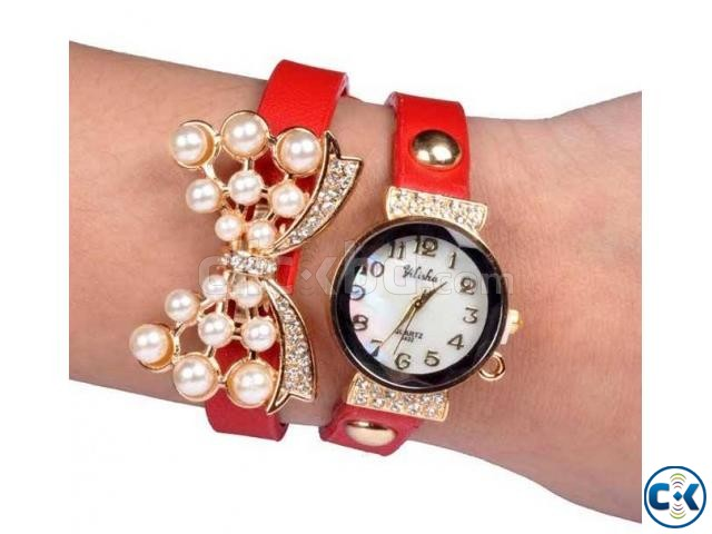 Double Leather Belt Butterfly Watch Red  | ClickBD large image 0