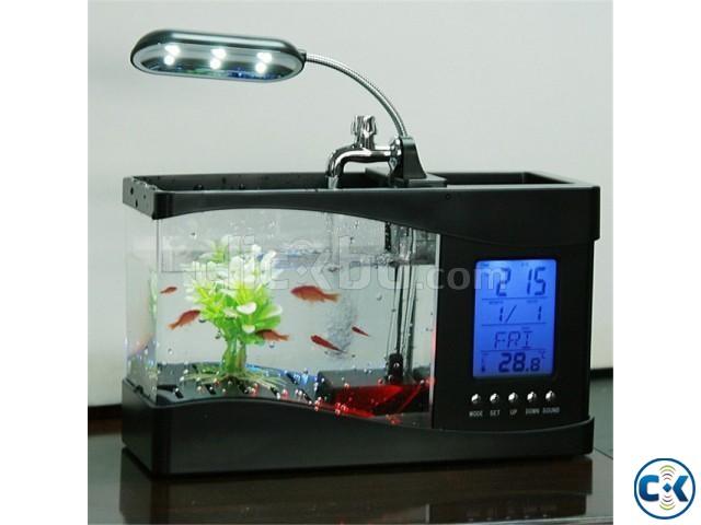 4-in-1 Aquarium Running Water Tap Clock Pen holder | ClickBD large image 0