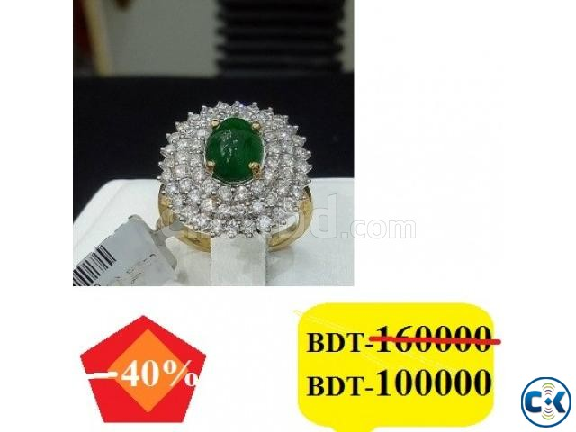 Diamond with Gold Ladies Ring | ClickBD large image 0