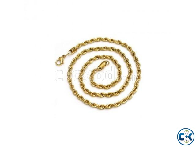 14K Yellow Gold Plated Stainless Steel Rope Chain | ClickBD large image 0
