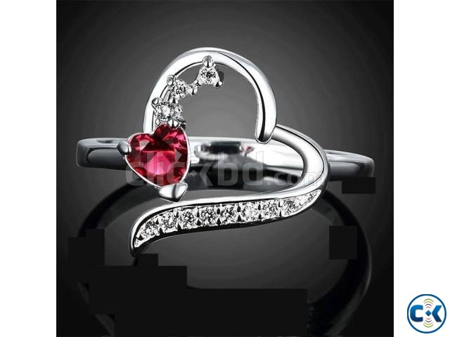 Red Heart Stone Ring for Women -1pc | ClickBD large image 0