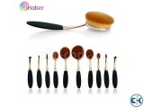 10Pcs Professional Makeup Brushes Set Oval Cream Puff Toothb