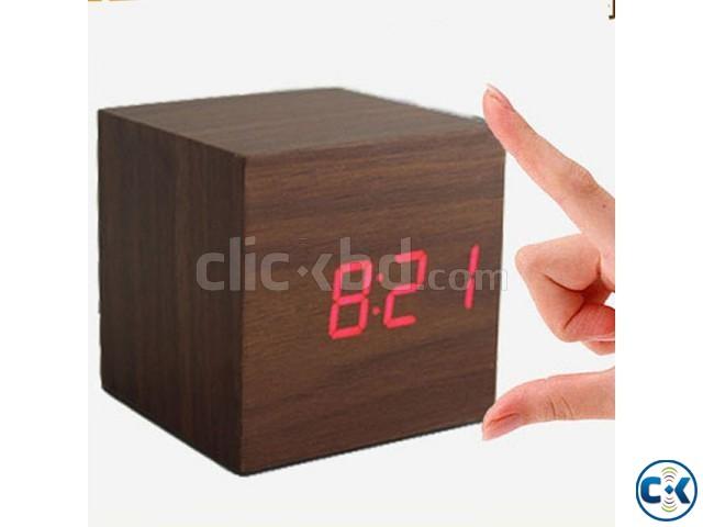 Cube Shape Wooden LED Digital Clock-  | ClickBD large image 0