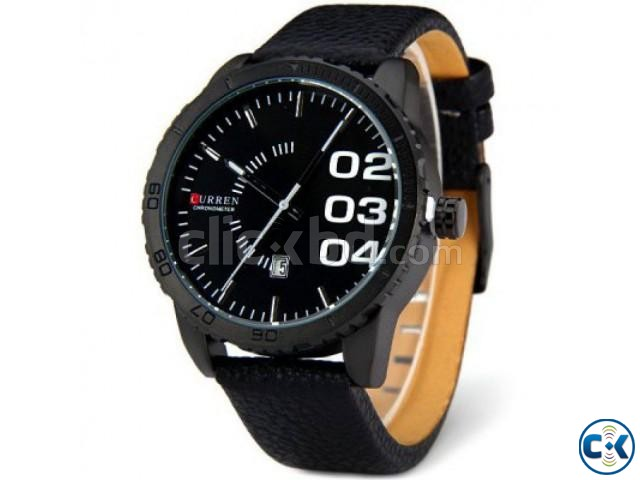 Curren Leather Belt Date Military Watch Black | ClickBD large image 0