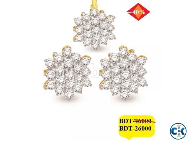 Diamond With Gold pendant set | ClickBD large image 0