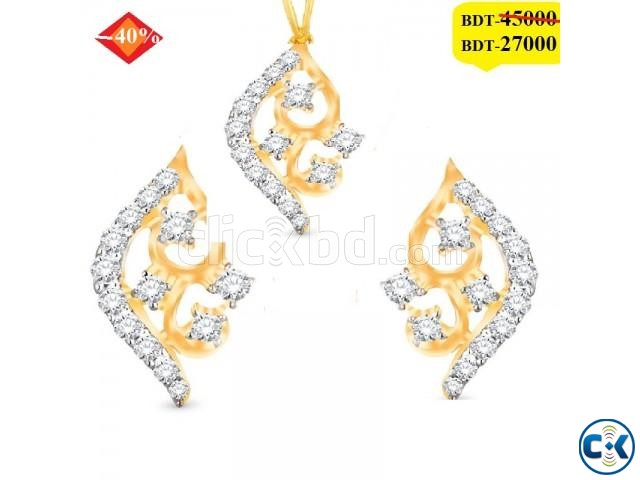 Diamond With Gold pendant set | ClickBD large image 0