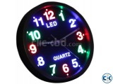 LED wall Analog clock with colorful degit Night light