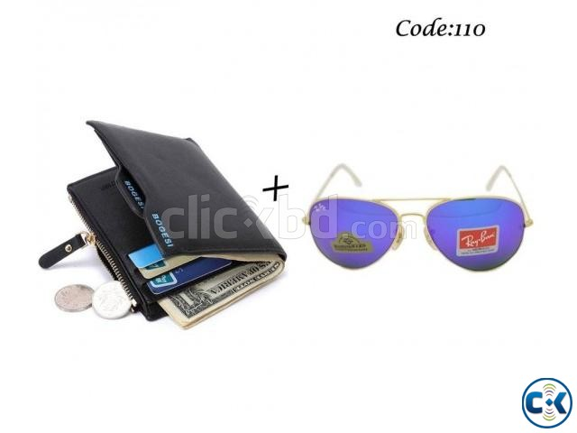 Combo Offer - Bogesi Leather Black Men s Wallet Ray-Ban Men | ClickBD large image 0