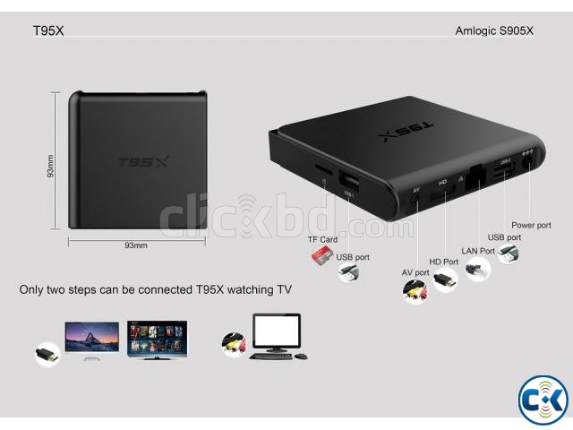 T95X 4K Android 6.0 Smart TV Box 2GB ram | ClickBD large image 1