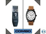 Combo of Electric Gents Saver Km-3060 and Curren Watch White