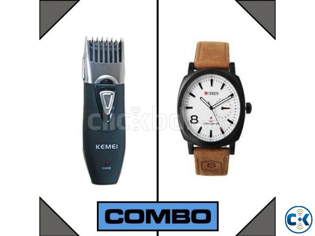 Combo of Electric Gents Saver Km-3060 and Curren Watch White | ClickBD large image 1