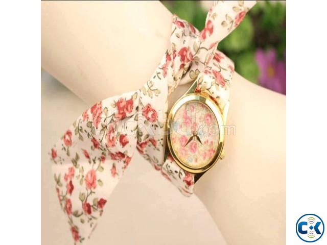 Cloth Belt Designer Ladies Watch   ClickBD large image 0