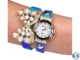 Double Leather Belt Butterfly Watch Royal Blu